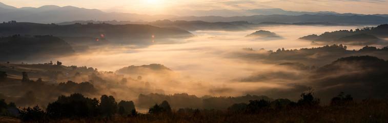 Papiers peints Marron chocolat Magic sunrise in a Carpathian mountain valley
