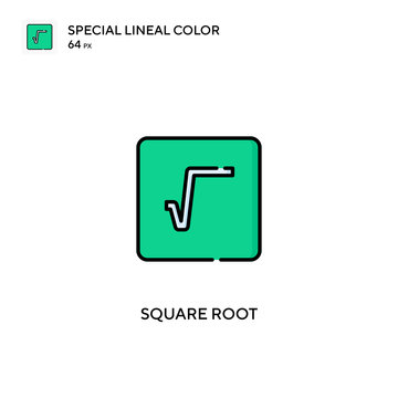 Square root special lineal color vector icon. Square root icons for your business project