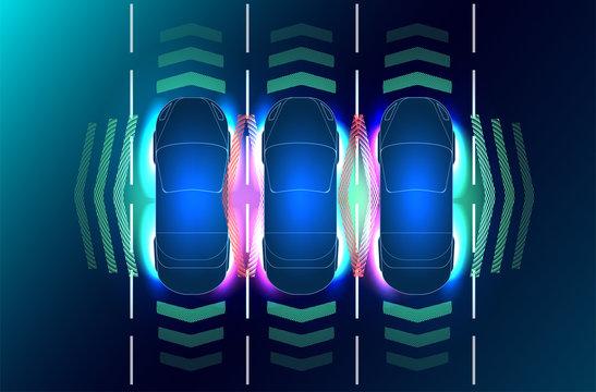 Future concepts smart auto. HUD, GUI, hologram Automatic braking system avoid car crash from car accident. Concept for driver assistance systems. Autonomous car. Driverless car. Self driving vehicle.