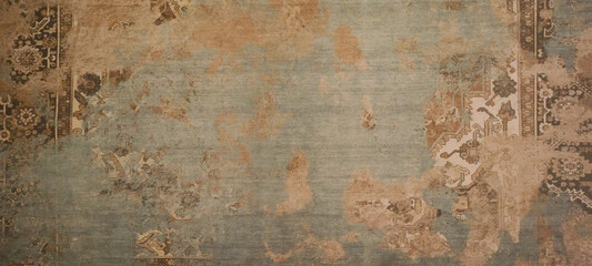 Wall Murals Retro Old brown gray rusty vintage worn shabby patchwork motif tiles stone concrete cement wall texture background banner