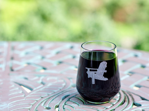 Glass of Red Wine on an Outdoor Patio Table