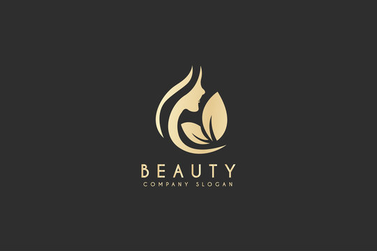 Beautiful woman's face logo design template. Hair, girl, leaf symbol. Abstract design concept for beauty salon, massage, magazine, cosmetic and spa. Premium vector icon.