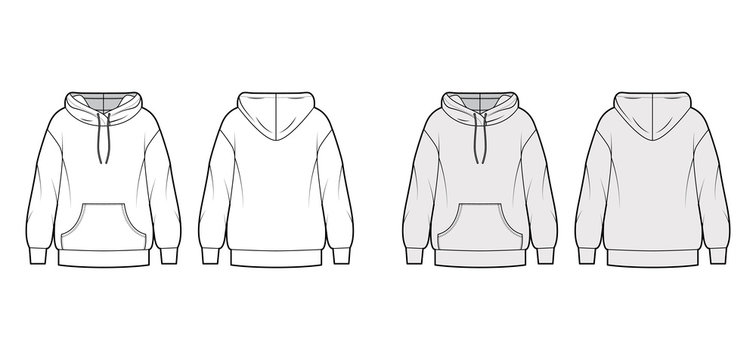Oversized cotton-fleece hoodie technical fashion illustration with pocket, relaxed fit, long sleeves. Flat jumper apparel template front, back, white, grey color. Women, men, unisex sweatshirt top CAD