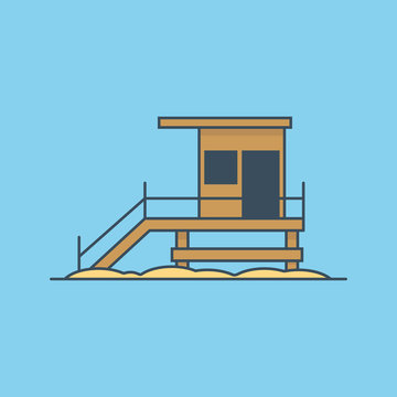 Beach lifeguard tower icon illustration