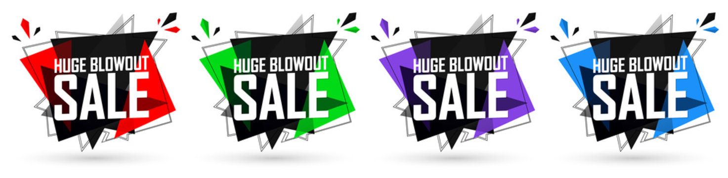 Set Huge Blowout Sale banners, discount tags design template, vector illustration
