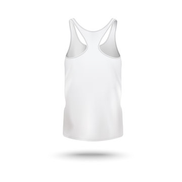 Women sport t-shirt or vest template back, realistic vector illustration isolated.