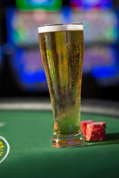beer on a blackjack table