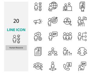 set of job hunting thin line icons, hr, cv, work