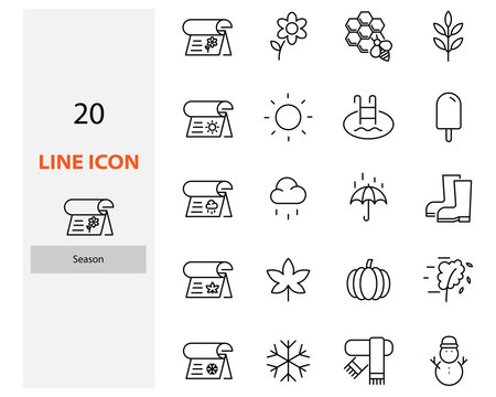 set of season thin line icons, winter, rainny, summer, autumn, spring