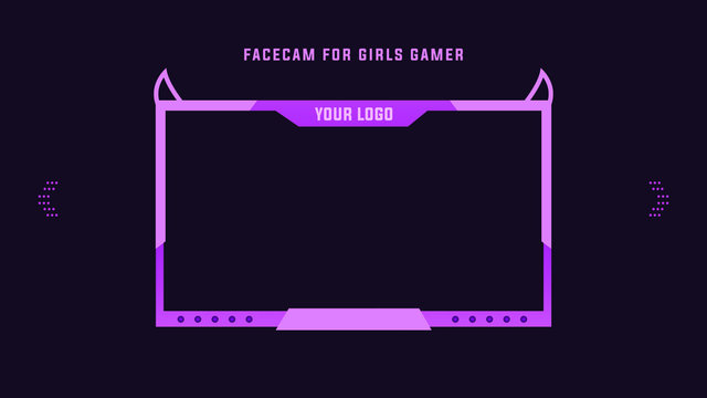 Pink Facecam for Girl Gamers, Streamer Vector Illustration