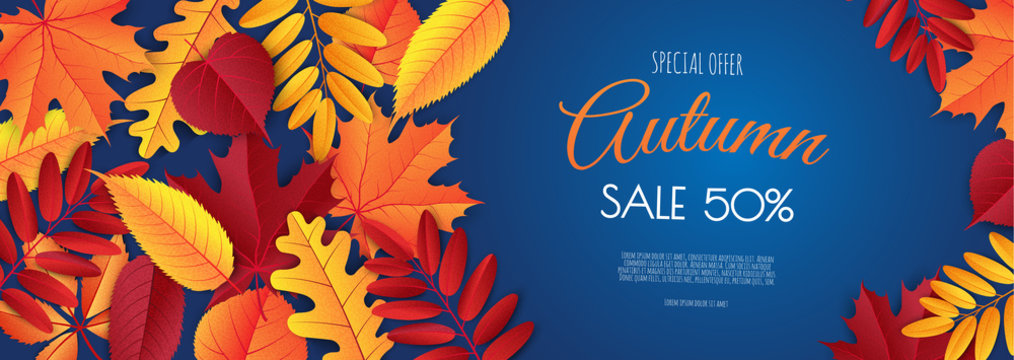Autumn sale banner, fall season discount poster with falling leaves for shopping promotions,prints,flyers,invitations, special offer card.