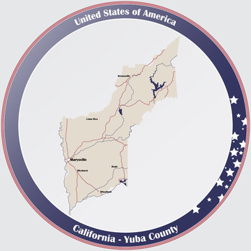 Round button with detailed map of Yuba County in California, USA.