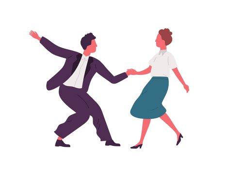 Pair holding hands and dancing lindy hop dance together. Party time in retro rock n roll style. Swing dancers couple in 1940s style clothing. Flat vector illustration isolated on white background