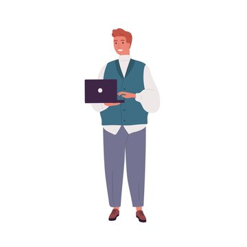 Smiling programmer or businessman working and holding laptop. Adult bearded modern coder in casual clothes. Young man having remote work. Flat vector cartoon illustration isolated on white background