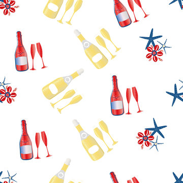Vector Champagne bubbles and ocean star fish seamless pattern background. Prosecco bottles, fizzing glasses, cowrie shells gold red , white backdrop. All over print for beach style party celebration