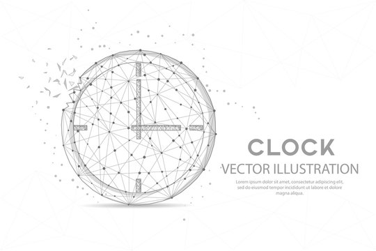 Clock timer digitally drawn low poly wire frame on white background.