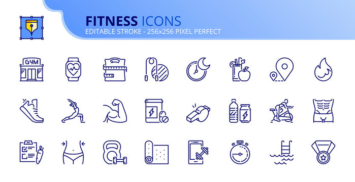 Simple set of outline icons about fitness.