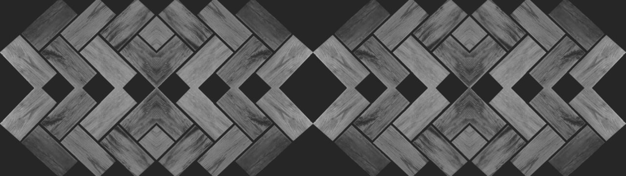 Grunge wooden banner panorama - Gray grey wood herringbone parquet seamless texture, isolated on black anthracite wall wallpaper background