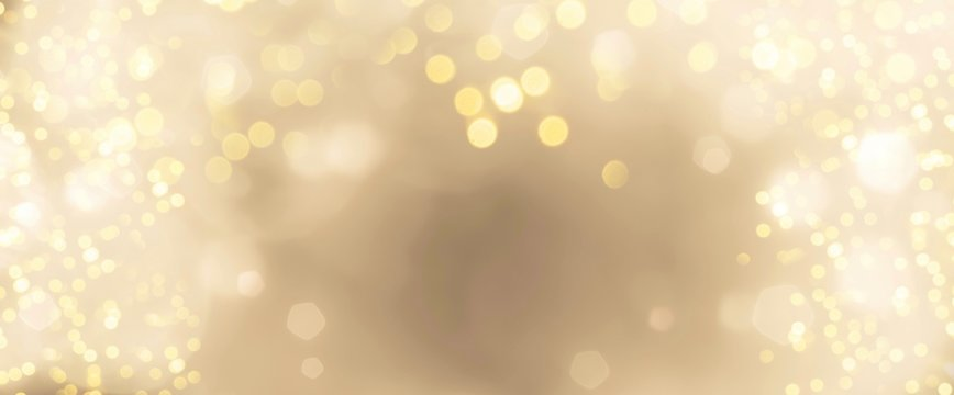 Festive abstract Christmas bokeh background - golden  bokeh lights beige - New Year, Anniversary, Wedding, banner