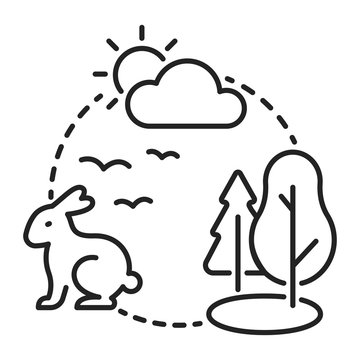Ecosystem black line icon. Sustainable biodiversity and animal friendly environment. Isolated vector element. Outline pictogram for web page, mobile app, promo
