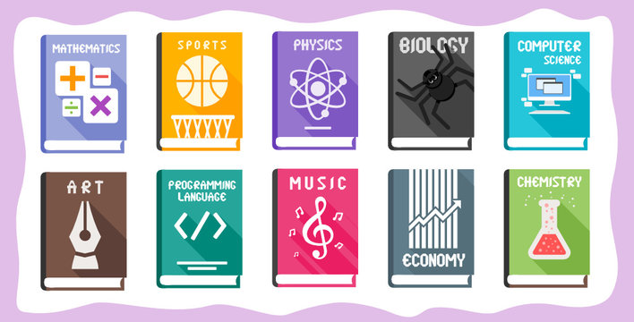 School Subject Textbooks Set with Illustrative Cover. Library & Reading Material Element. Math, Sport, Physic, Biology, Computer Science, Art, Programming Language, Music, Economy & Chemistry Book