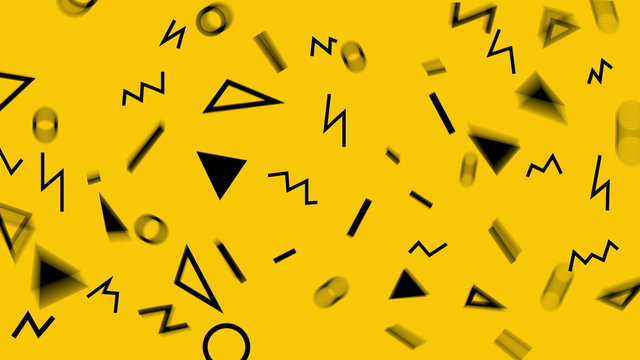 Retro abstract design yellow pattern background with colorful triangles, circles, lines and zigzags. Memphis style with geometrical shapes