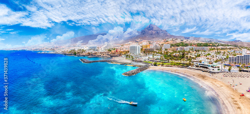Wall mural Aerial view with Las Americas beach at Costa Adeje, Tenerife, Canary