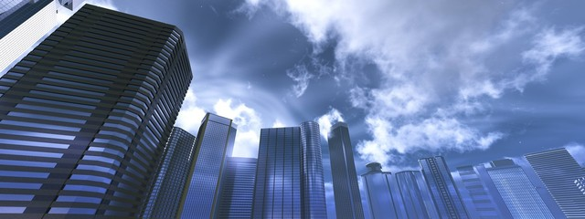 Wall Mural - Skyscrapers against a stormy sky, dramatic cityscape, 3D rendering