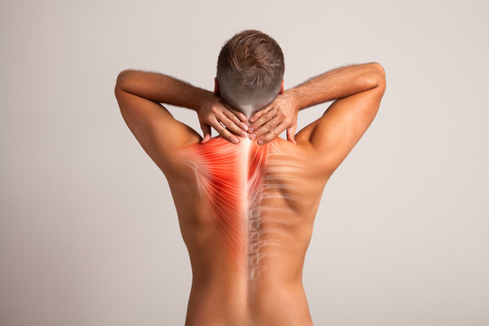 Mens back, neck pain muscle and bone, spine injury