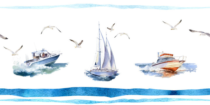Picturesque seamless border pattern of speedboats, yacht, seagulls and blue stripes hand drawn in watercolor isolated on a white background. Watercolor seamless border. 5000x2500px