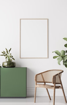 Frame mock up in Boho Chic Living Room, simple and comfortable design