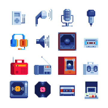 Technology audio. Wooden subwoofer, audio headphones, microphone, music application icons set. Speaker portable and stereo sound. Pixel art. 8-bit. Isolated vector illustration. Game assets.