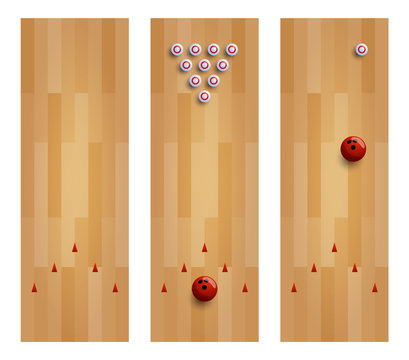 Illustration of a bowling lane collection. Set three bowling alley with pin and ball vector illustration