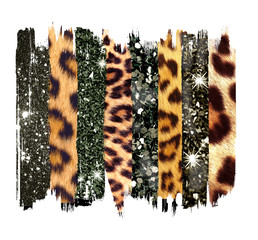 Wall Murals Leopard Black and gold Brush, Strokes, jpg, sublimation, shirt, clip art, leopard texture