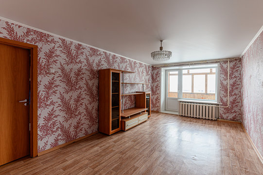 Russia, Moscow- February 10, 2020: interior room apartment modern bright cozy atmosphere. general cleaning, home decoration, preparation of house for sale. shabby old sloppy not modern furnishings