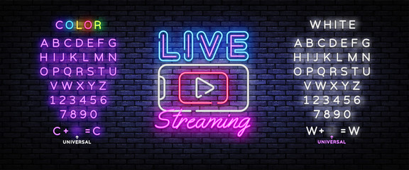 Fototapeta Live Streaming Only neon text vector design template. Live Video neon sign, light banner, design element, night bright advertising, bright sign. Vector illustration. Editing text neon sign obraz