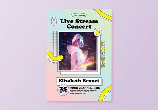 Holographic Live Stream Concert Flyer Layout