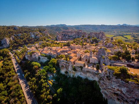 Les Baux de Provence village on the rock formation and its castle. France, Europe. Drone view