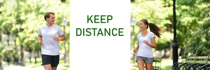 Social distancing KEEP DISTANCE Covid-19 sign friends talking happy panoramic banner. Asian woman...