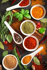 Various cooking ingredients, spices and herbs