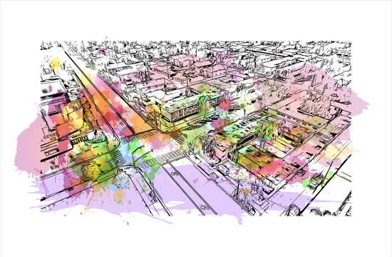 Building view with Landmark of Anaheim is a city outside Los Angeles, in Southern California. Watercolor splash with hand drawn sketch illustration in vector.