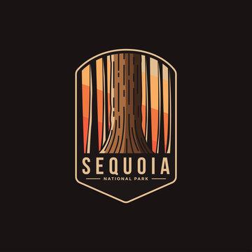 Emblem patch logo illustration of Sequoia National Park on dark background