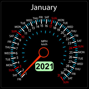The 2021 year calendar speedometer car January