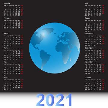 Calendar 2021 with a globe on the black sky