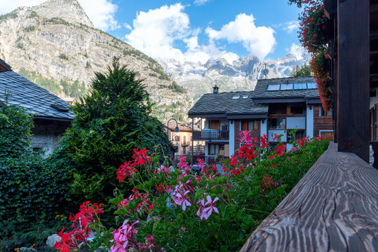 Old center of Courmayeur with a view of Mont Blanc - Valle d'Aosta - Italy
