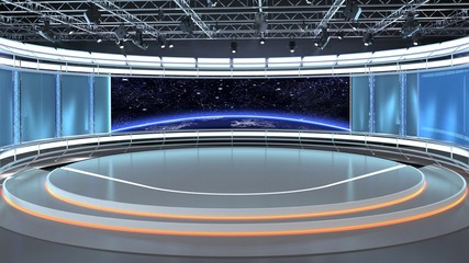 Virtual TV Studio News Set 35-2. 3d Rendering. Virtual set studio for chroma footage. wherever you want it, With a simple setup, a few square feet of space, and Virtual Set, you can transform any loca