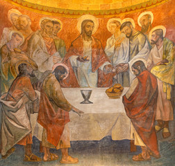 BARCELONA, SPAIN - MARCH 3, 2020: The fresco of Last supper in the chruch Iglesia de Belen by artists (Grupo Flama) from half of 20. cent.