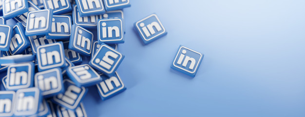 A Bunch of LinkedIn Logos. Copy Space Banner Background 3D Rendering