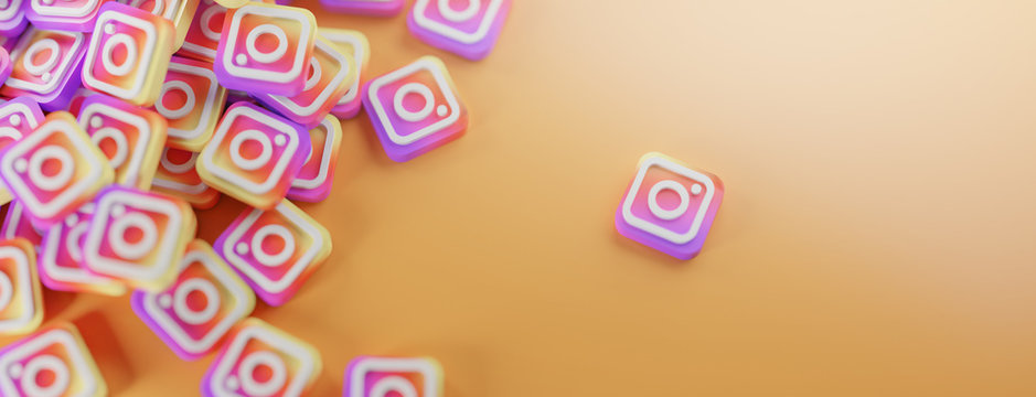 A Bunch of Instagram Logos. Copy Space Banner Background 3D Rendering