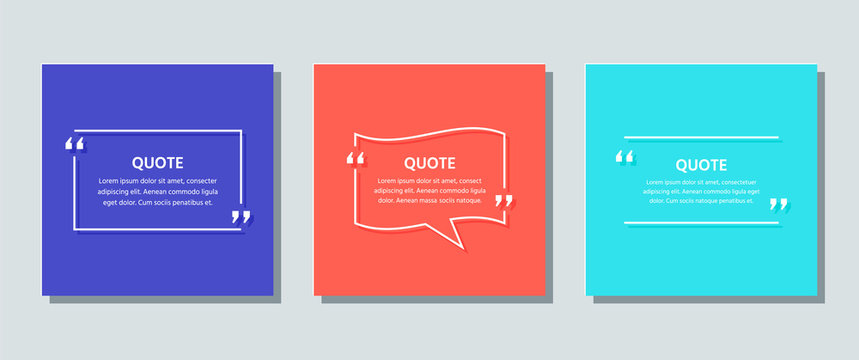 Quote text box. Quotations frame template. Vector. White info comments and messages in textboxes on color background. Set of speech bubbles. Colorful illustration. Cards with phrases in brackets.